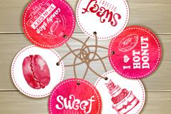 圆形水彩甜品吊牌矢量素材