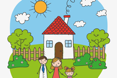 儿童卡通风格家庭插画矢量素材