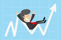 曲线箭头上的商务男子矢量图