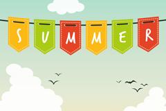 创意夏季吊旗矢量素材