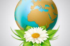 精美雏菊花与地球设计矢量图