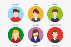 9款圆形职业人物头像矢量图