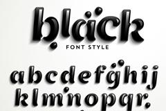 黑色质感字母设计矢量素材