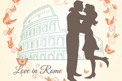 爱在罗马插画矢量素材