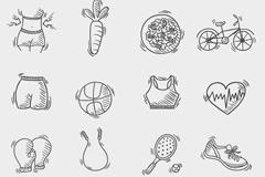 16款手绘健身图标矢量素材