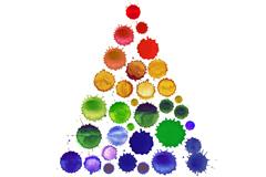 水彩墨迹圆点树木设计矢量图