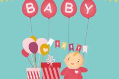 可爱婴儿和礼盒矢量素材