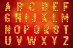 橙色霓虹灯字母矢量素材