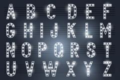 银色霓虹灯字母设计矢量素材