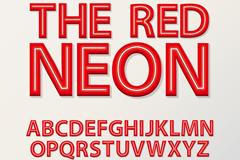 红色霓虹灯字母矢量素材