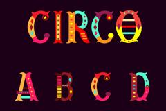 彩色马戏团字母设计矢量图