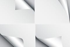 4款银色卷边贴纸矢量素材