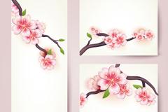3款樱花花枝卡片矢量素材