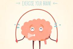卡通健身的大脑插画矢量图