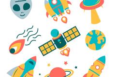 9款火箭飞碟与外星人元素矢量图