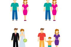 4款家庭人物设计矢量图