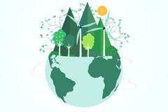 绿色能源地球剪贴画矢量素材
