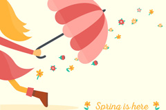 拿伞奔跑的女孩矢量素材