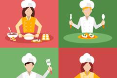 4款烹饪中的厨师矢量素材