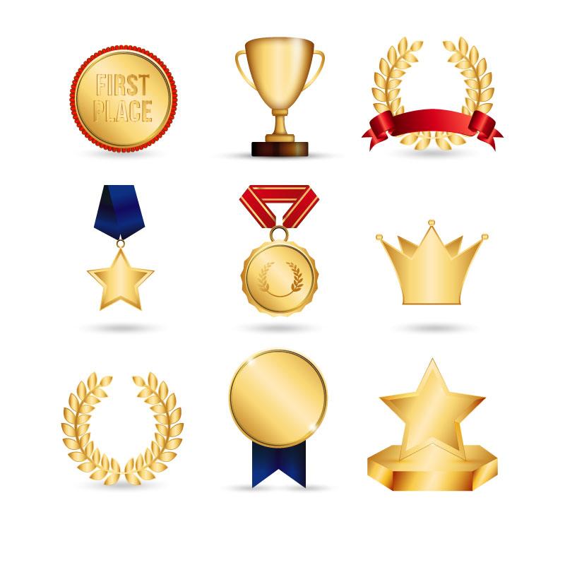 qq勋章_9款金色奖杯与奖牌矢量素材_矢量图标_懒人图库
