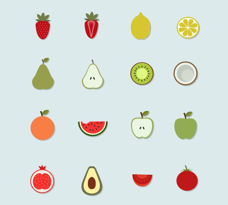 16款水果贴纸图标矢量素材