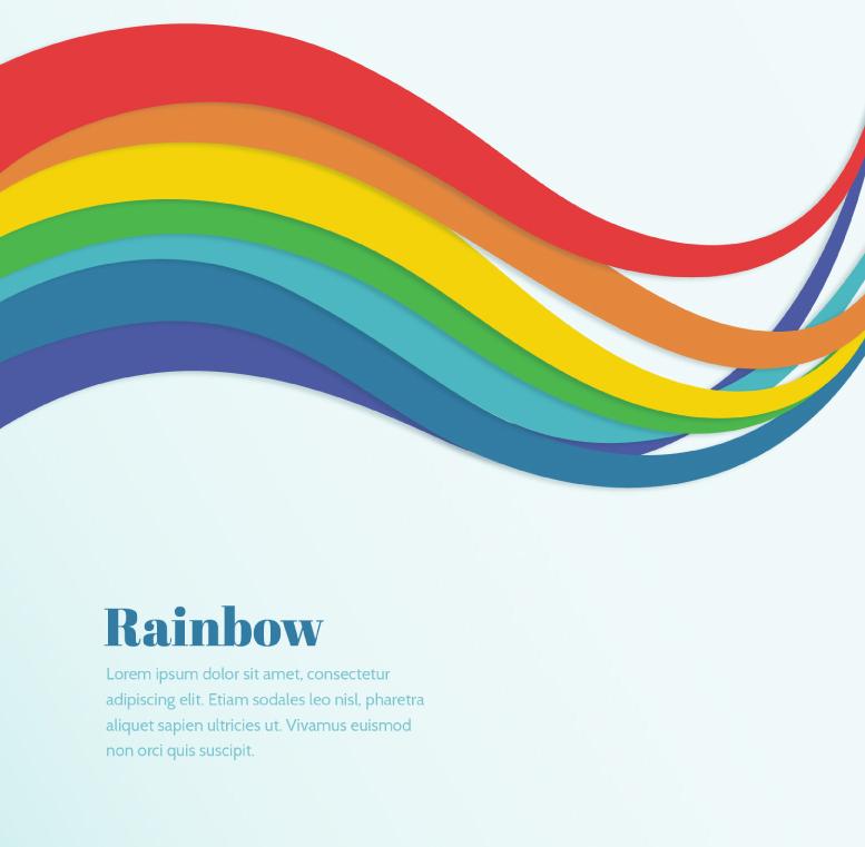 彩虹色曲线背景矢量