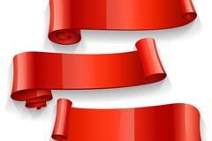 3款精美红色丝带条幅矢量图