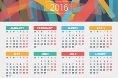 2016彩色年历设计矢量图