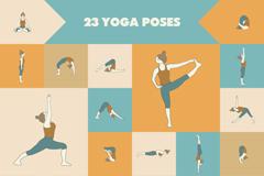 23款瑜伽姿势动作矢量素材