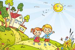两个卡通孩子插画矢量素材