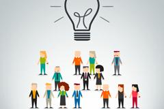 商务人群与灯泡矢量素材