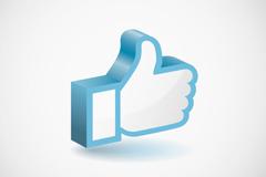 蓝色立体大拇指点赞手势矢量图