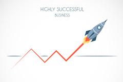 创意火箭商务插画矢量素材
