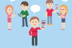社交生活人物与语言气泡矢量图