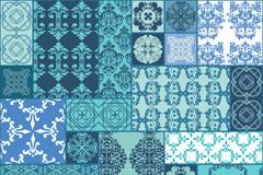 创意蓝色花纹拼接背景矢量图