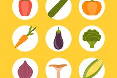 6款圆形常见蔬菜图标矢量素材
