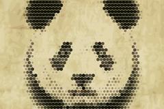 抽象熊猫头像矢量素材
