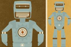 复古机器人设计矢量素材