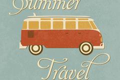 复古夏季旅行海报矢量素材