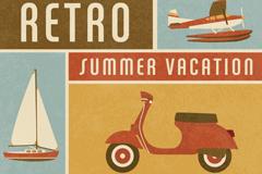 复古夏季度假拼接海报矢量图