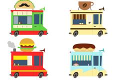 6款卡通食物快餐车矢量素材