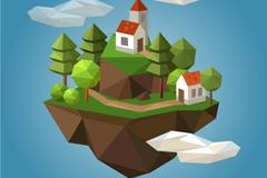 创意立体山中的房屋矢量素材