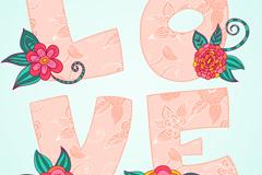 花卉�b�love��g字矢量�D