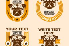 4款创意哈巴犬标签矢量素材