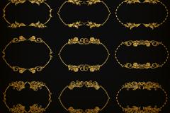12款金色花纹边框矢量图
