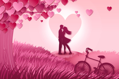爱心树与情侣矢量素材