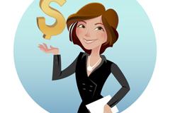 商务女郎与货币符号矢量素材