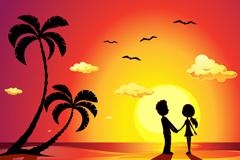 夕阳下的沙滩情侣剪影矢量图