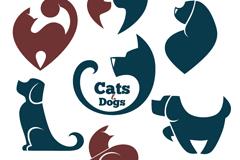 7款猫和狗标志设计矢量素材