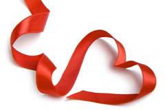 高清心形红色丝带图片